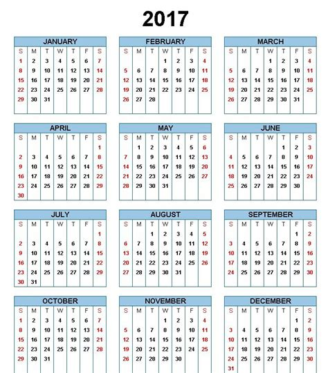 2017 printable calendar template holidays excel word 2017 printable calendar template holidays excel word 2017