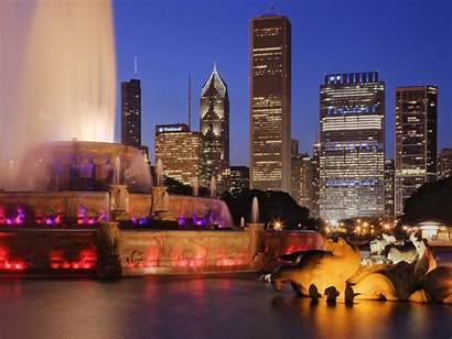 Chicago Dusk Fountain Illinois Wallpapers Cities Definition