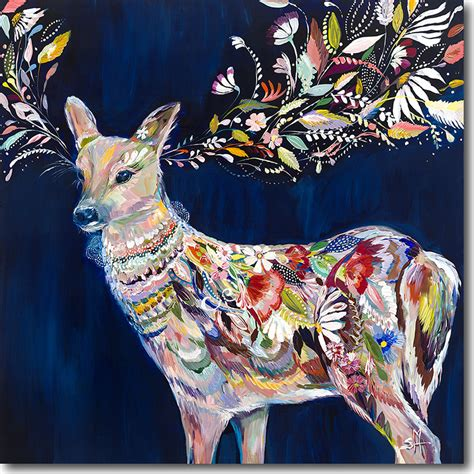 cobalt floral deer artwork  crown interiors