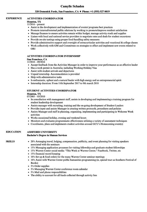 Activities Resume Template by Resume Exles Activities Resume Exles Resume