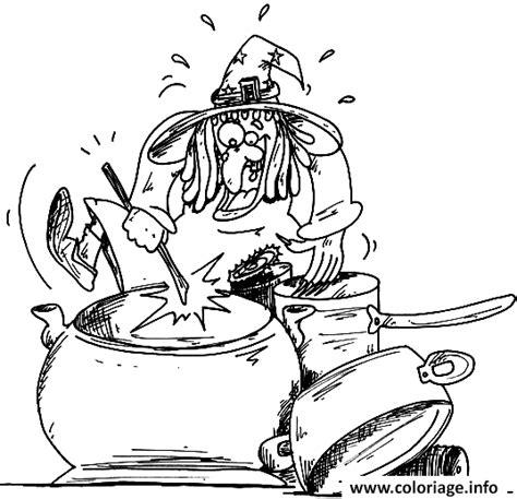 dessin de cuisine à imprimer coloriage dessin d une sorciere qui cuisine dans sa