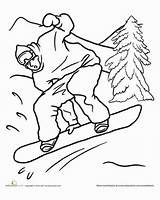 Worksheet Snowboarding Coloring Snowboard Sports Education sketch template