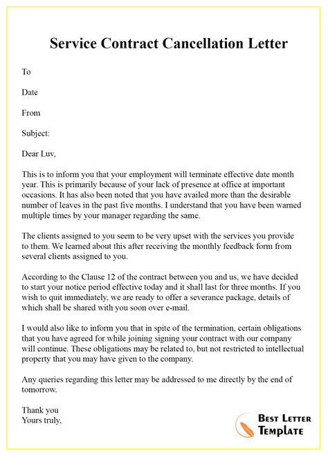 Cancellation Letter Template of Contract - Format, Sample & Example