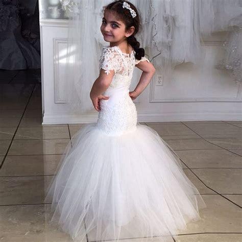 nice mermaid long girls wedding dresses short sleeves