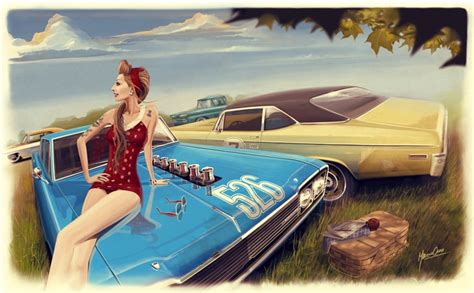 P0504 Illustration Pinup Muscle Cars Girl Woman Cars