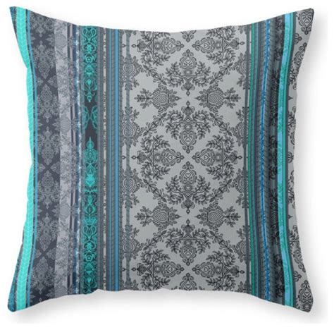 teal and gray pillows society6 teal aqua and gray vintage bohemian wallpaper