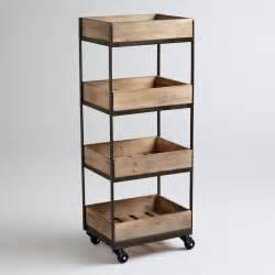 wheeled kitchen islands 4 shelf wooden gavin rolling cart contemporary kitchen
