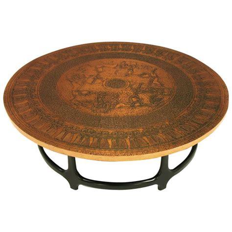 Round Copper Leaf Relief And Ebonized Walnut Coffee Table