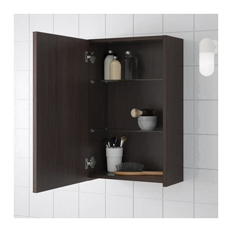 Ikea Bathroom Mirror Wall Cabinet by Lill 197 Ngen Mirror Cabinet With 1 Door Black Brown 40x21x64