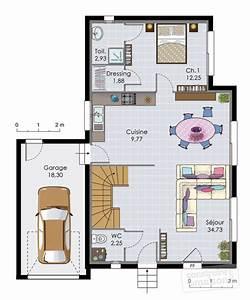 plan maison 2 etages moderne