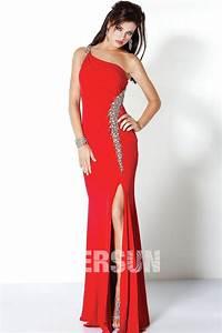 robe bal rouge longue asymetrique avec fente jmrougefr With robe longue avec fente