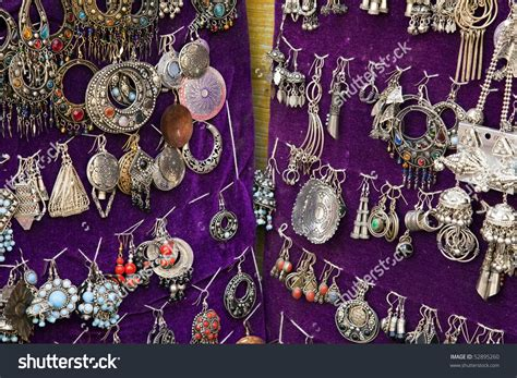 Colorful Traditional Indian Jewelry At Weekly Market In Anjuna, Goa ( India) Stock Photo