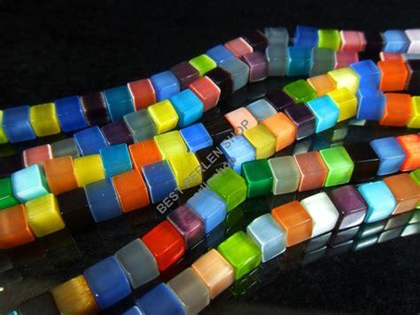 katzenauge perlen wuerfel mm mehrfarbig glas kette