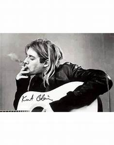 Nirvana Kurt Cobain Black & White Guitar Fabric Poster