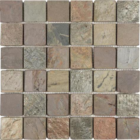 slate colored tile shop anatolia tile multi color tumbled uniform squares mosaic slate wall tile common 12 in x