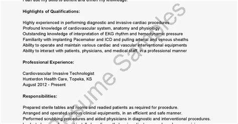 resume sles cardiovascular invasive technologist