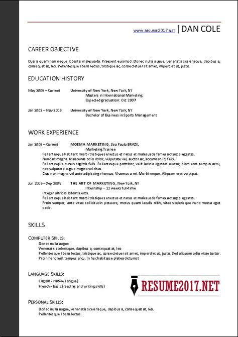 Free Resume Templates 2017 by Resume Templates Free 2017 Learnhowtoloseweight Net