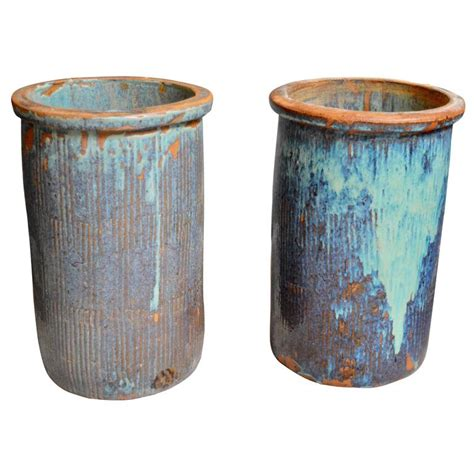large ceramic planters pair of large drip glaze ceramic pots for at 1stdibs