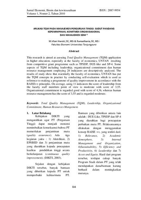 (PDF) APLIKASI TQM PADA MANAJEMEN PERGURUAN TINGGI: SUDUT