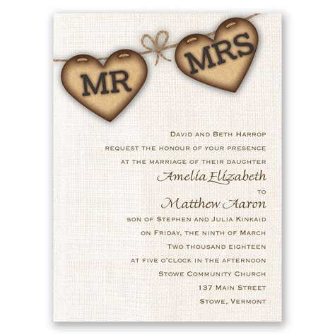 wedding invitations with hearts rustic hearts invitation invitations by dawn