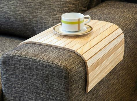 SOFA TRAY TABLE NATURAL, Wood Coffee Table, Armrest Table