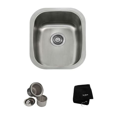 home depot bar sink drain kraus kbu16 stainless steel 15 quot undermount single bowl 18