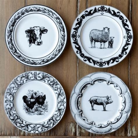 ceramic barnyard print plates set    images printed plates plates farmhouse dinner