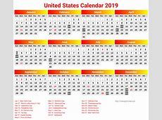 Yearly USA 2019 Holidays Calendar Printable Template 12