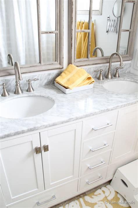 Double Bar Stool by Remodelaholic Updated Bathroom Single Sink Vanity To