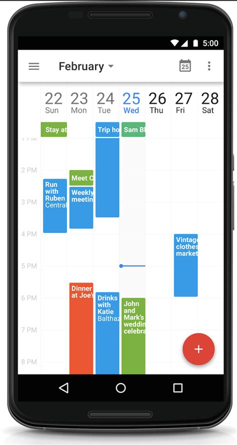 android calendar app updates android calendar with a 7 day week view
