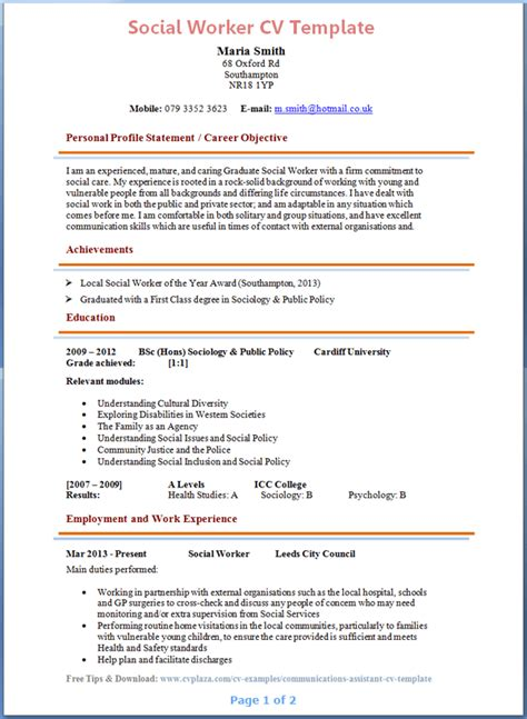 Msw Resume Format by Social Worker Cv Exle
