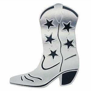 Foil Cowboy Boot Silhouette - Silver - PartyCheap