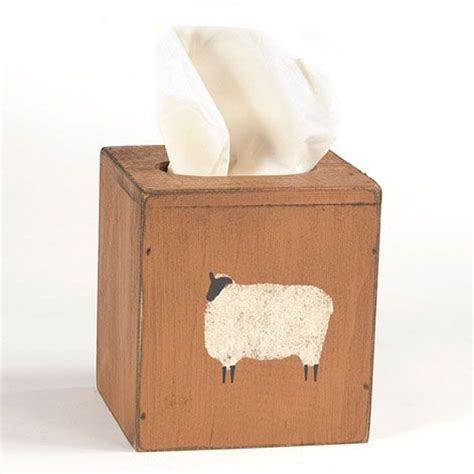 mustard sheep decorative tissue box cover country
