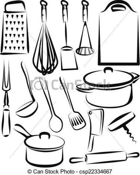 dessin d ustensiles de cuisine clip vecteur de ustensile ensemble illustration cuisine illustration csp22334667