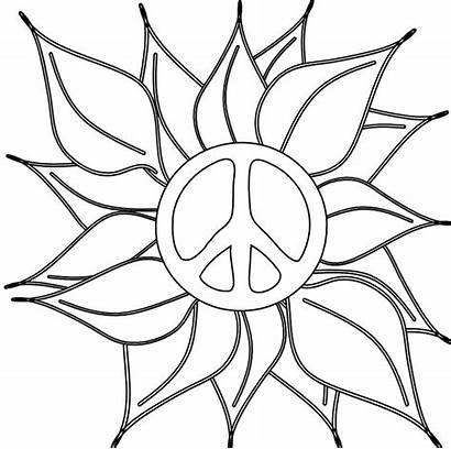 Peace Coloring Sign Pages Flower Hand Heart
