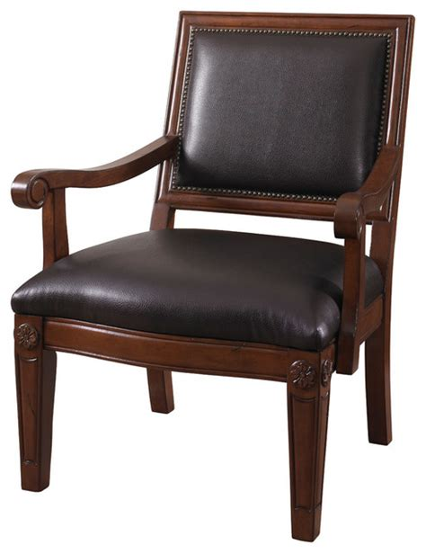 powell brown bonded chair with wood arm transitional