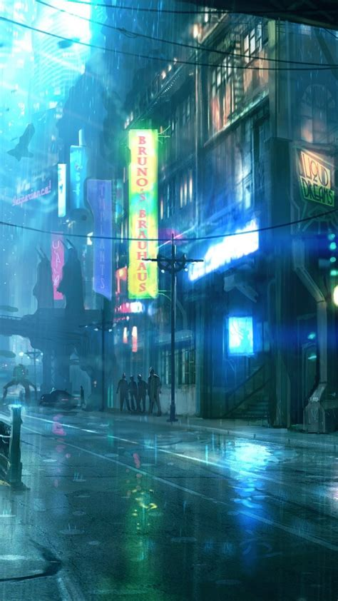 cyberpunk futuristic city raining