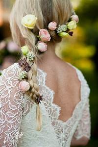 Romantic Braided Wedding Hairstyles With Beautiful Flowers