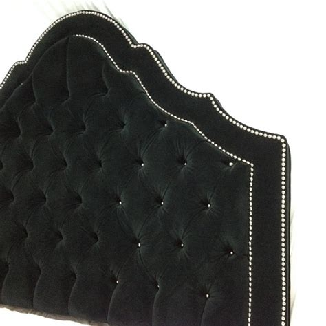 black tufted headboard black velvet tufted headboard with row of nickel