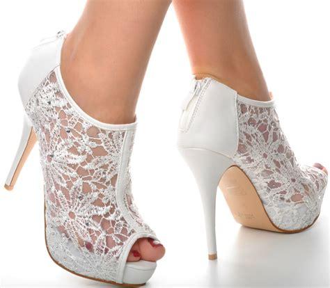 white lace diamante platform wedding ankle boots heels
