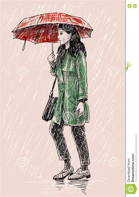 girl   rain stock vector illustration  strolling