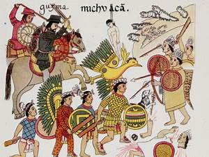 Native Drawing of Spaniards under Hernando Cortes Fighting ...