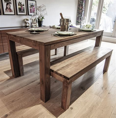 karang reclaimed wood dining table  benches ebay
