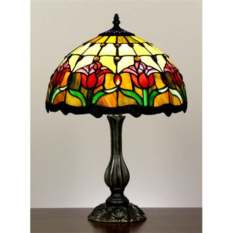 forest tiffany tulip style stained glass table lamp