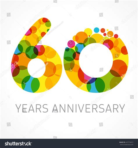 60th anniversary color template logo 60th anniversary circle form stock vector