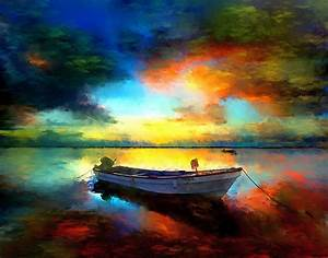 Sunset Boat Landscape Artwork Painting Painting by Andres