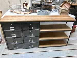 Meuble De Rangement Entrée : meubles de rangement industriel m tal bois ~ Farleysfitness.com Idées de Décoration