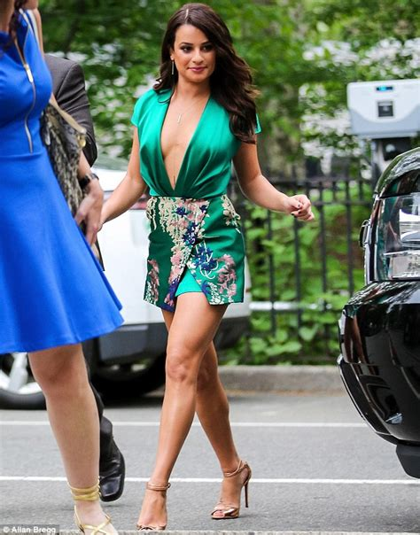 Lea Michele Takes The Plunge In Very Lowcut Silk Dress As