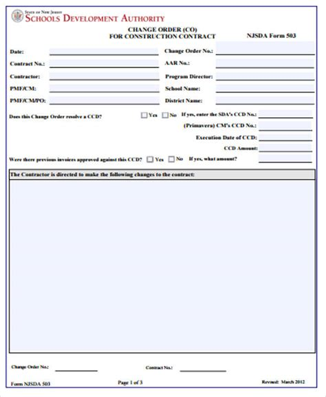 7+ Sample Construction Change Order Forms  Sample Templates