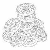 Coloring Pages Sheet Printable Donut Dessert Troll Popular Template Slides sketch template